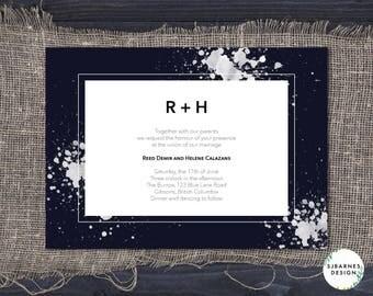 Printable Wedding Invitation | Modern Wedding Invite | Artistic Watercolour Invitations | Navy Blue Wedding Invitation | Raindrop Suite