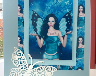 March Aquamarine birthstone fairy birthday card.  A5