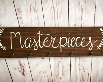 Masterpieces sign, kids artwork display, masterpieces artwork sign, wood signs, artwork sign, kids art display