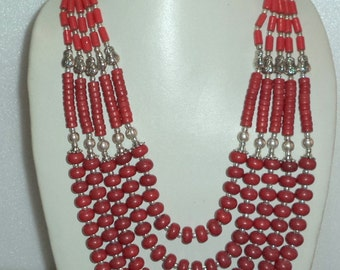 195 gm CORAL BEADED NECKLACE