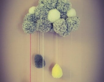 Mobile PomPoms grey cloud