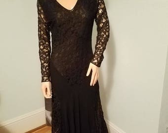 witchy 1930's black lace fully lined bias cut gown