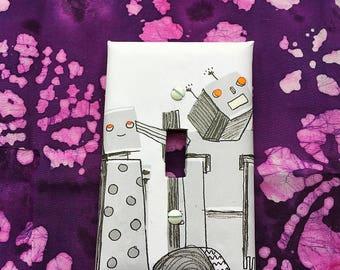 OOAK Robot Light Switchplate