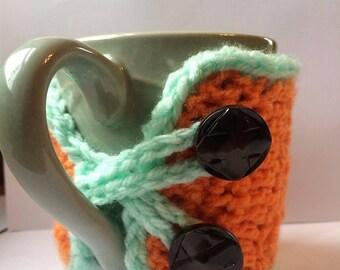 Orange crocheted Mug Cozy