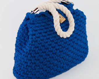 Royal Blue handbag from textile yarn