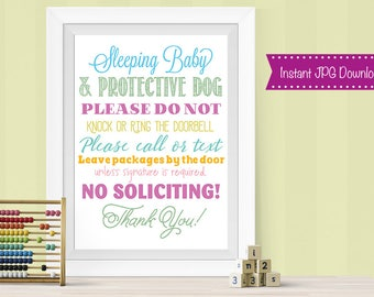 Sleeping Baby Sign, Do No Disturb Signage, PRINTABLE, INSTANT DOWNLOAD