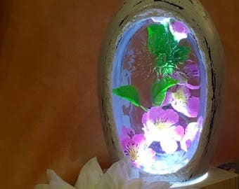 Bottle lamp vintage style flowers LED touch gift mother's day gifts