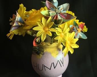 Disney Inspired Wedding Centerpiece - Winnie the Pooh Hunny Pot - Disney Paper Flowers