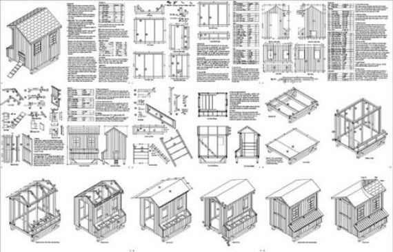 5x6 saltbox style chicken poultry coop hen house plans 90506s