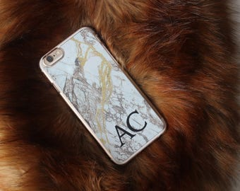 White Gold Personalized initial Marble Phone Case iPhone 5C 5 SE 6 6S 6 Plus 7 7 Plus Samsung Galaxy S6 S7 Edge S8