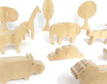 Safari animals wooden toys - eco friendly and organic waldorf set