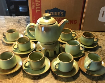 Frankoma Prairie Green Tea Set