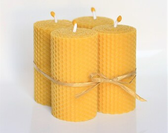 Pure Beeswax Pillar Candles Set of 4 Size 10 x 5 cm Eco Candles Hand Rolled Natural and Lovely Honey Scent Handmade
