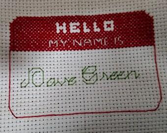 My Name Is - Nerdfighter Cross Stitch Pattern