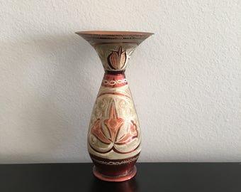 Vintage Copper Vase Etched in Turkey, Folk Art Metal Work Turkish Copper Ware, Home Decor, Brass.
