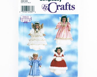 "Simplicity Pattern 8478 Angel Clothes for 18"" Doll, Heavenly Angel Gown and Halo Patterns, Angel Costumes Pattern, Girl or Boy Angel Pattern"