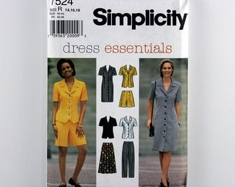 Vintage Simplicity Pattern 7524 Dress or Top, Skirt, Pants, and Shorts, Sizes 14, 16, 18, UNCUT Dress Essentials Sewing Pattern, Wardrobe