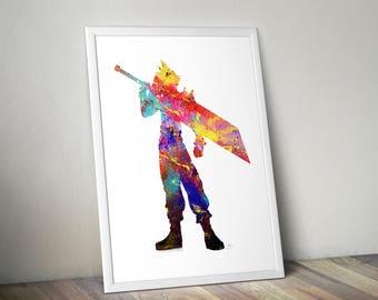 Final Fantasy, Cloud, Watercolor, gaming, gamer, print, poster, Anime, Manga,