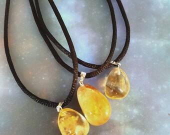 Yellow Citrine Crystal Gemstone Necklace