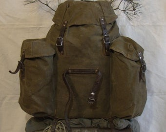 Swedish Army Mountain Backpack / Rare vintage 1930s / Bushcraft Pack rucksack with metal frame / military surplus / free shipping