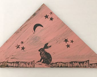 Pink and Gray Block-Printed Wooden Plaque Featuring Jack Rabbit with Moon and Stars