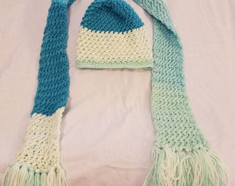 Women's hat and scarf set - teal