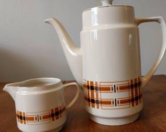 Vintage Mid Century Fantastic Coffee Pot Tea Pot and Creamer KUN-LUN