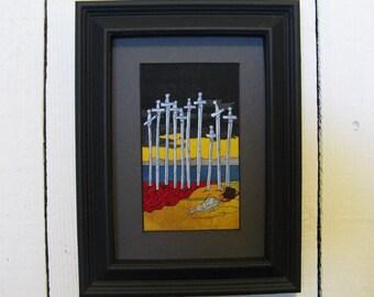 Ten of Swords, Fabric Tarot Card Art, 3x5 inch, matted, unframed, mixed media, made to order