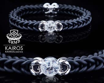 KAIROS No. 9 ice bead - rubber strap with 2 sterling silver items / ice Pearl