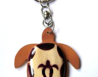 Wooden turtle keychain