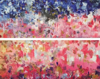 Firework Diptych - 2 Colourful Original Abstract Paintings in Acrylic Paint on Canvas