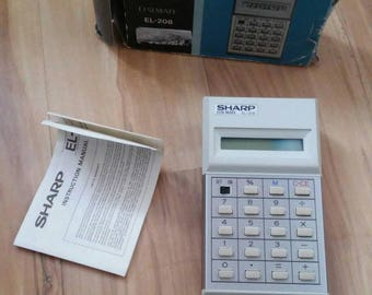 Retro SHARP Elsimate EL-208 Calculator in Original Box