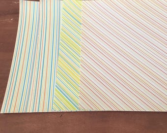 Cardstock /  Striped 8 x 8 Paper / Card Stock / Scrapbook Paper / Scrapbooking / Card Making Paper / Paper Stock