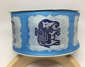 Blue Elephant Ribbon / Polyester Ribbon / Fabric Ribbon / Sewing Ribbon / Scrapbooking / Card Making