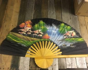 Oriental Folding Fan // Elegant Asian Paper Fan // Paper Folding Fan