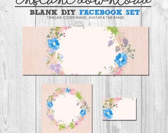 premade social media page design, blank diy facebook timeline cover image, diy facebook banner set, pre-made facebook grahics diy package