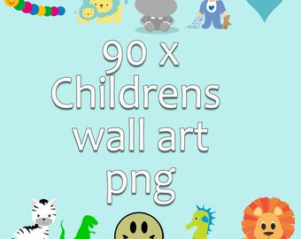 50% off  90 png clip art files of childrens wall art