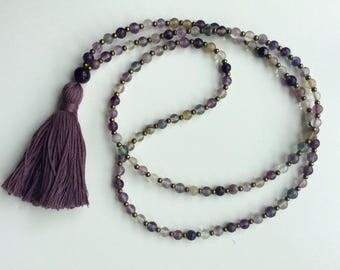 Rainbow Fluorite Mala Necklace, Mala beads, 108 meditation beads