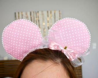 Pink Polkadot  Minnie Ears | Mickie Ears