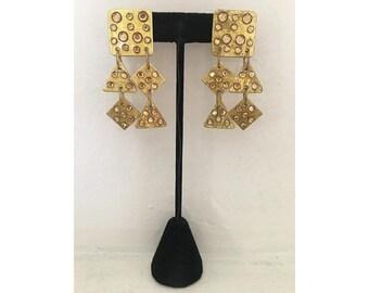 Statement Earrings/ Vintage Earrings/ Designer Earrings/ MAM/ Gold Earrings/ Glam earrings/ Embellished Earrings