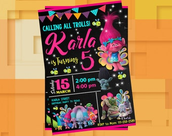Trolls Invitation,Trolls Birthday,Trolls Birthday Invitation,Trolls Party,Trolls Party Invitation,Trolls,Trolls Printable,Trolls Invite