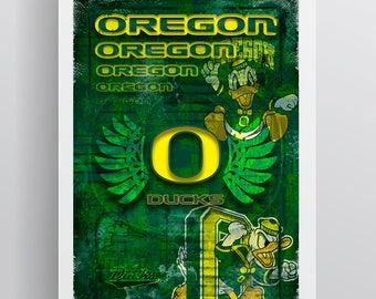 University of Oregon Print, Oregon Ducks Poster, Oregon Ducks Print, Oregon Ducks Gift, Ducks Man Cave