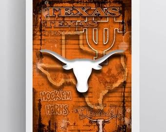 University of Texas Longhorns Poster, Longhorns Gift, Texas University Man Cave, Longhorns Sports Print