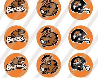 Oregon State Beavers 1 inch round for bottlecap sheet size 4x6 - Instant Download