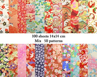 Mix 100 sheets 14cmx14cm Japanese Origami Yuzen Chiyogami Washi Papers