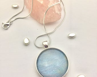 Hand painted sea waves glass cabochon pendant silver necklace