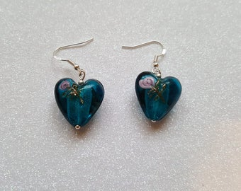Stunning Turquoise Foil Heart Earrings