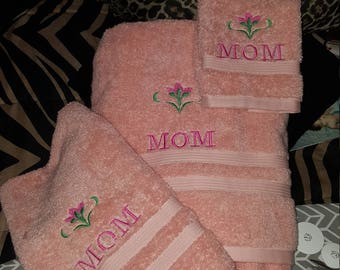 Mom embroidered towels