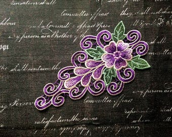 purple collar Patch Full Embroidered Sew on Patches for clothes collar applique P52