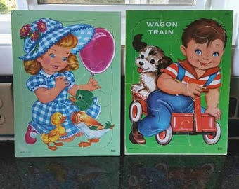 Vintage Girl and Boy Tray Puzzle Set